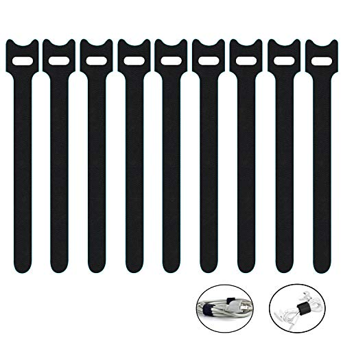 50 x Loop Cable Ties - Reusable Adjustable Tie Wraps, Black Hook and Loop Cable Ties, Cable for Long Cable Wires Storage Management