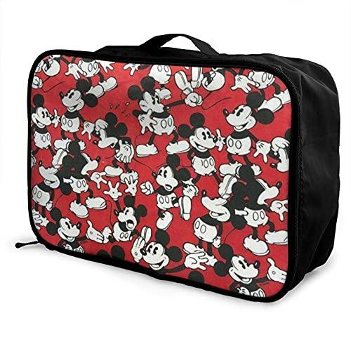 Bolsa de viaje de Mickey Mouse impermeable a la moda, ligera, de gran capacidad, portátil, bolsa de equipaje de fin de semana