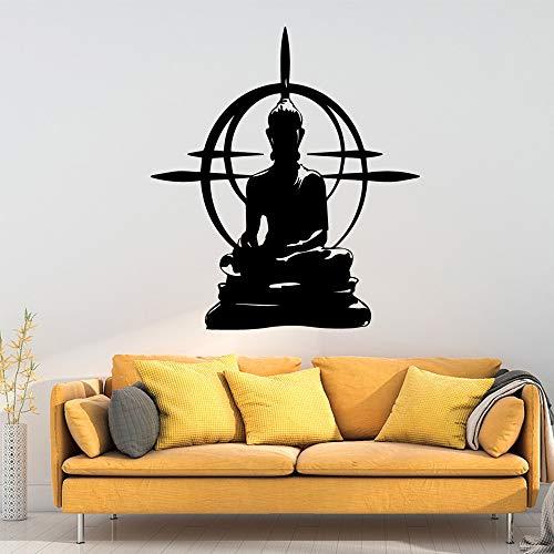 Moderne Buddha Wandaufkleber Vinyl wasserdicht Wandkunst Aufkleber Kinderzimmer für Wohnzimmer Dekor Wandbild dekorative Vinyl WallpaperSoft PinkL 42cm x 47cm