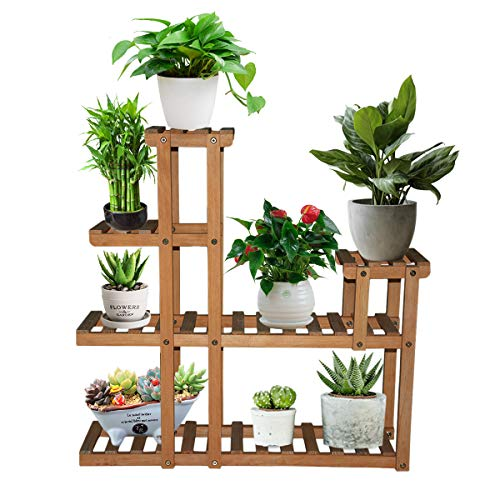 Wood Plant Stand Indoor,Baodan Corner Plant Stand Steady,Multi-Tier Outdoor Plants Storage Ladder, Flower Shelf Display Rack Holder for Patio Livingroom Balcony Garden Yard
