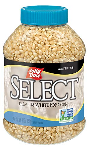 JOLLY TIME Select Popcorn Kernels – Gourmet White Popping Corn, 30 Ounce Bulk Jars for Air Popper Machine or Stovetop (Pack of 6)