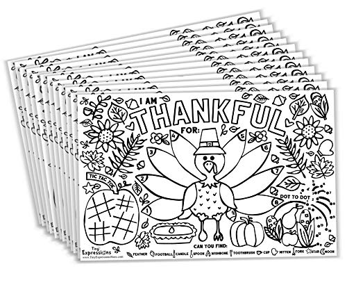 Tiny Expressions - Fall Thanksgiving Placemats for Kids (Pack of 12 Turkey Placemats)   Coloring Activity Paper Table Mats for Children to Write Thankful List   Disposable Bulk Bundle Set