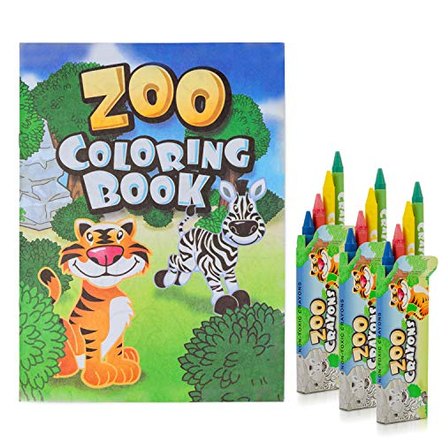 FAVONIR Zoo Coloring Books and crayons set - Includes 12 Books and 12 Packs of crayons - Zoo Themed Party Favor Set - For Boys And Girls - Ideal Fo (12)