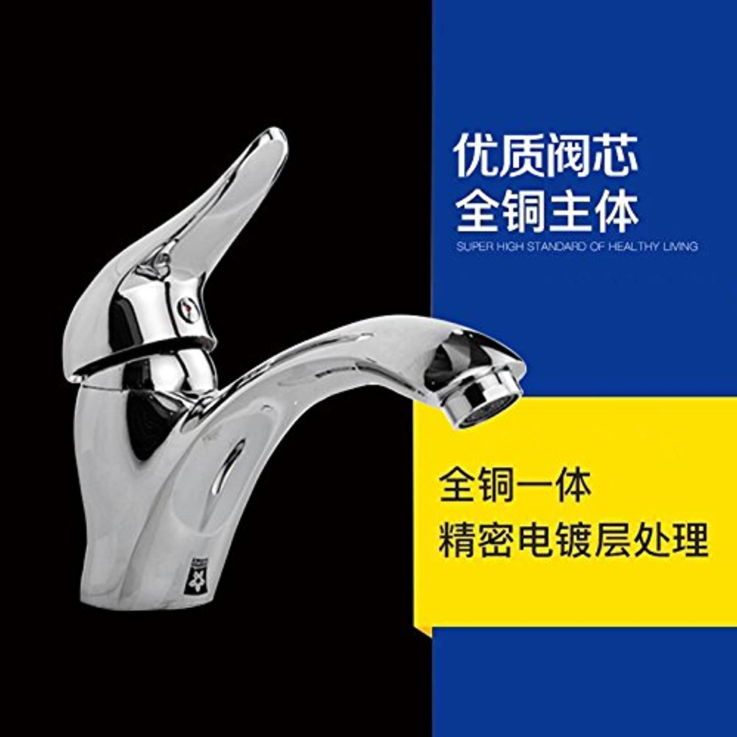 JWLT Bathroom, Bathroom Cabinet, All Copper hot and Cold Water Faucet, Single Hole Mixing Valve Washbasin, Washbasin, Basin Basin Basin Faucet,B Single Faucet