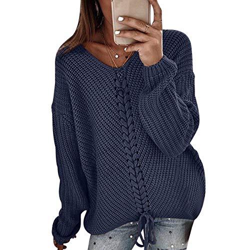 Suéter Largo Mujer Jersey Punto V Mujer Oversize Tallas Grandes Sueter Jerséis Trenzas Jerseys Grueso Mujeres Sueteres Mujer Invierno Largo Suéters Señora Suéteres de Mujer Pullover Holgado Armada M