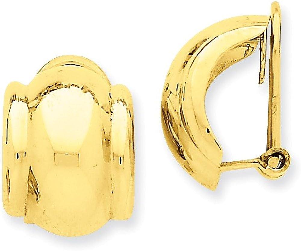14K Yellow Gold Ranking TOP12 Omega Earrings Detroit Mall Non-pierced Clip