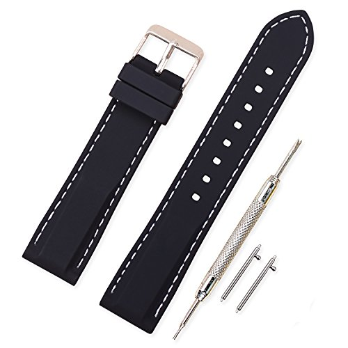 Vinband Cinturino in silicone cinturino caucciù multicolore impermeabile argento fibbia 18, 20, 22, 24 mm - cinturini orologi orologio cinturino (22mm, nero-bianca)