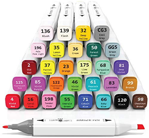 30 Alcohol Markers Set - Art Markers for Adults, Artists and Kids - Dual Tip Sketch Markers - Alcohol Based Drawing Markers for Adult Coloring