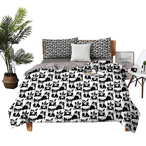 Bulldog Comfortable Series Home Furnishing Fashion Soft Sheet 3-piece Set Doodle Style Fun Pattern with Playful Domestic Pets in Party Hats and Crowns Suitable for any bedroom or guest room Queen(90'