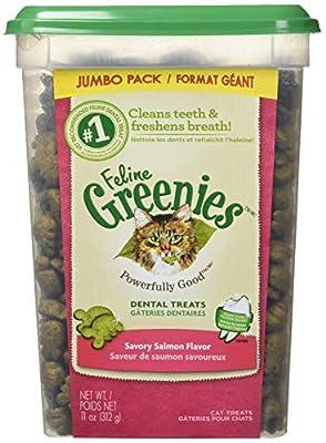 FELINE GREENIES Natural Dental Care Cat Treats Savory Salmon Flavor, 11 oz. Tub