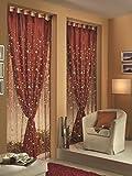 Home Collection TDS114 Tenda Doppia Shantung, Poliestere, Bordeaux, 140x290 cm