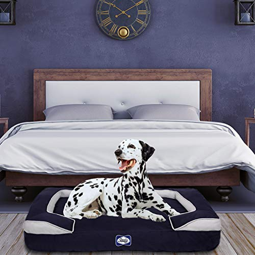 Sealy Dog Bed Embrace | Crushed Memory and Orthopedic Foam bolstered Dog Bed, Large Navy (94512)