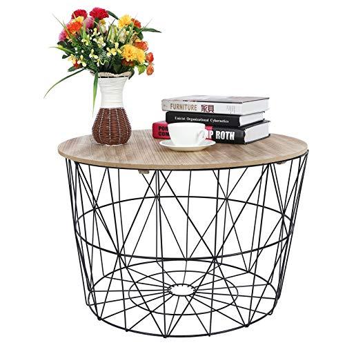 Mesas de café, mesa redonda de madera con alambre geométrico, mesas laterales de metal, lámpara de esquina lateral con cesta de almacenamiento, marco de metal para el hogar, sala de estar, dormitorio