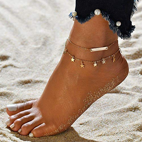 Edary Boho Double Stars Tassel Anklets Gold Bar Ankle Bracelet Fashion Foot Jewelry for Women and Girls