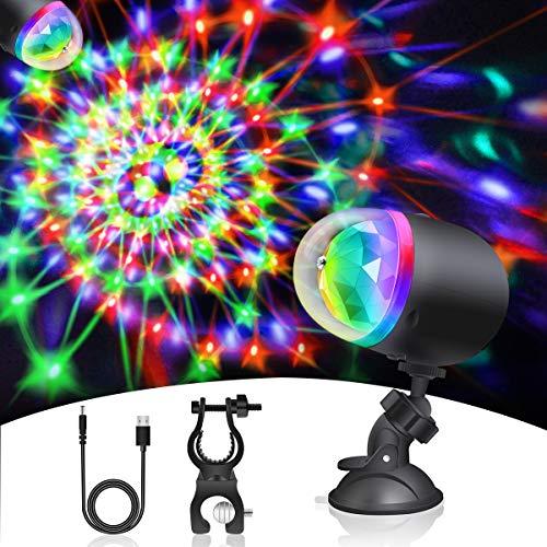 LED Discokugel Discolicht, Euproce USB Wiederaufladbare Mini Party lichter mit Saugnapf und Fahrradhalterung, RGB 360° Drehbares Party Bühnenlampen für Weihnachten Kinder Party Geburtstagsfeier