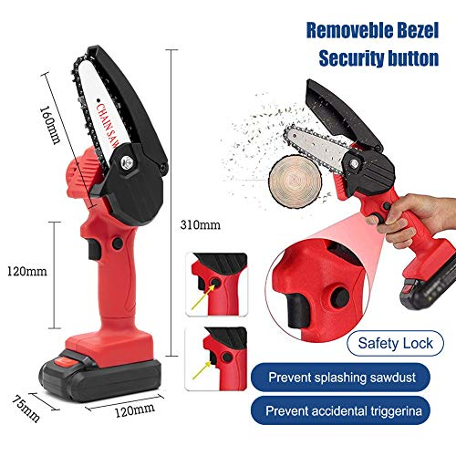 Mini Chainsaw Set Cordless Electric Protable Chainsaw with 4 Chain and Splash Board 0.7kg Lightweight Pruning Shears Chainsaw for Garden Tree Branch Wood Cutting(4-Inch 24V 550W),Mini Chainsaw red