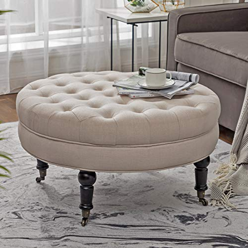 Simhoo Large Round Tufted Lined Ottoman Coffee Table With Casters Beige Upholstery Button Footstool Cocktail With Wheels For Living Room Buy Online In China At China Desertcart Com Productid 124648065
