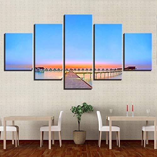 ZSHSCL kunstdruk op canvas, decoratief, modern, minimalistische brug van hout, motief: kunstdruk met kunstdruk voor wandafbeeldingen, 5 stuks S