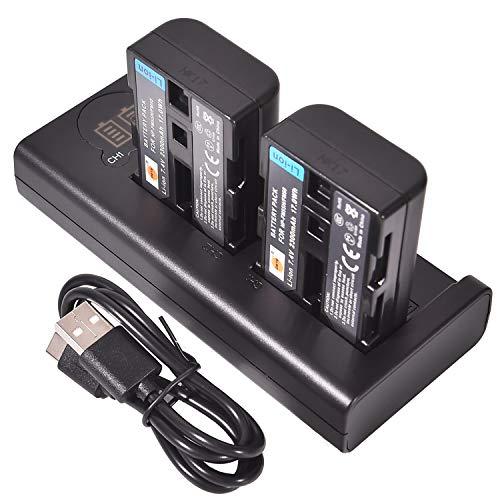 DSTE NP-FM50 Batería Recargable (Paquete de 2) y Cargador USB Dual LED Inteligente compatibles con Sony CCD-TRV108, CCD-TRV116, CCD-TRV118, CCD-TRV126, CCD-TRV128, CCD-CCD-TRV138, CCD-TRV208