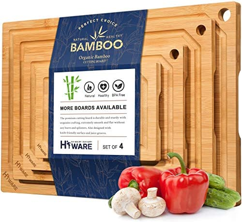 Hiware 4 Piece Bamboo Cutting Boards for Kitchen Heavy Duty Cutting Board with Juice Groove product image