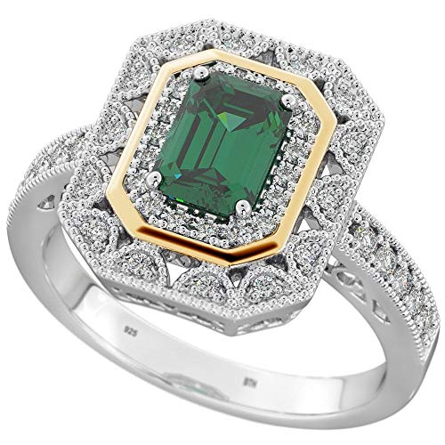 BestToHave-Ladies Sterling Silver Halo Ring with Green Emerald Cubic Zirconia-P