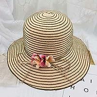 ファッショナブルな帽子夏のファッションストローハット女性用ボーフラワーストライプストローハットビーチフロッピーサンハットカジュアル大人用バイザーハット