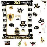 Photocall Cumpleaños 30 Años 24pcs Photo Booth Props+ Marco inflable de Fotocol Adornos Accesorios Decoración Fiesta Cumpleaños (30 Años)