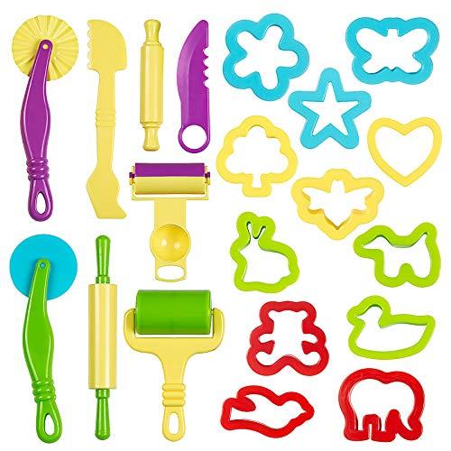 ZWOOS Herramientas de Plastilina 20 Piezas Kit de Herramientas de Plastilina Inteligentes con Modelos y Moldes para Niños Bebé Regalo Cumpleaños (Color al Azar)
