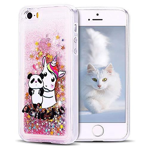 SpiritSun Funda iPhone 5 / 5S Carcasa iPhone 5 / 5S / SE, Transparente Líquido Bumper Tapa Silicona Case Flexible Gel TPU Bling Suave Protectora Caso para iPhone 5 / 5S / SE Rosa - Panda