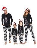 iClosam Matching Family Christmas Pajamas Set Holiday Pajamas Sleepwear Mom Dad PJs Black
