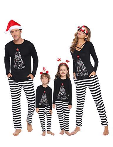 iClosam Matching Family Pajamas Set Striped Christmas Pajamas Sleepwear Dad Mom PJs