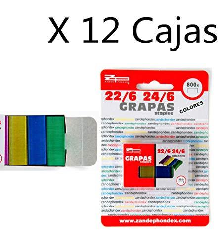 Zande Phondex Caja de Grapas de 24/6-22/6 Colores, Pack de 9600 Grapas