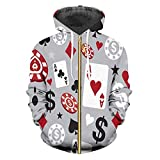 Hombres/Mujeres Capa Encapuchada de impresión 3D Poker Sudaderas Escudo...