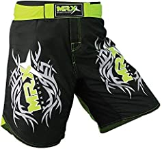 New MRX MMA Fight Shorts Stretch Penals Grappling UFC Cage Fighting Muay Thai Kickboxing Trunks (Black Green, XLarge)