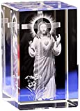 RFGTH Estatuas para el hogar Decorcrystal cubo de cristal modelo grabado figuras creativas interior tallado Jesús cristal hogar adornos cristianos