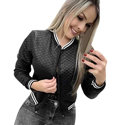 Overdose OtoñO Nueva Blusa Mujeres Moda Floral Gasa con Cremallera Bomber Jacket Outwear Coat (L, Negro)