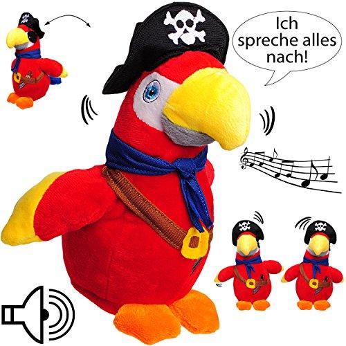 NACH sprechender - Papagei / Vogel / Ara - Pirat -  Ich spreche Alles nach & bewege Mich dazu  - aus Stoff / Plüsch - Plüschtier - mit Sound & Bewegung - sp..