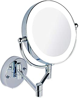 8 inch Bathroom Mirror Shaving Mirrors Make Up Wall Mounted LED Illuminated Mirror,Switch Dimming Swivel Wall Mount Mirror for Hotel Vanity Two Swivel Surface with Chrome Finished,7xmagnifying