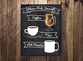 ShoppeCo Coffee Station Coffee Bar Hot Chocolate Bar Drink Station Coffee Wedding Reception Birthday Wood Pallet Design Wall Art Sign Plaque Wooden Signs
