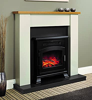 Be Modern Ravensdale Ivory Stone Effect Surround Oak Top Shelf Electric Stove LED Fireplace Suite 2kW