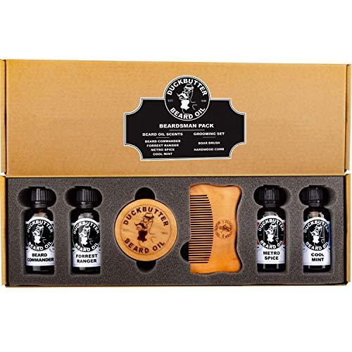 DUCKBUTTER Olio da Barba Duck Butter (Beard Oil) - Kit per l'Uomo barbuto - 4 Fragranze con set spazzola e pettine confezione regalo