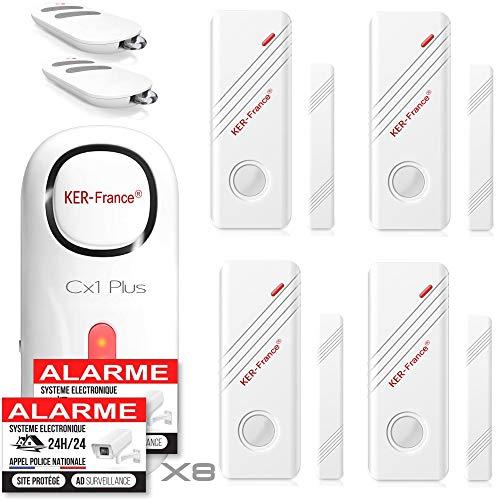 Ker-France - Alarme Maison sans Fil - Alarme Maison Appartement Garage sans Fil avec 1 Sirène 120dB - 4 Détecteurs de Porte et de Fenêtre - 2 Télécommandes - 8 Autocollants - Alarme de Camping Car