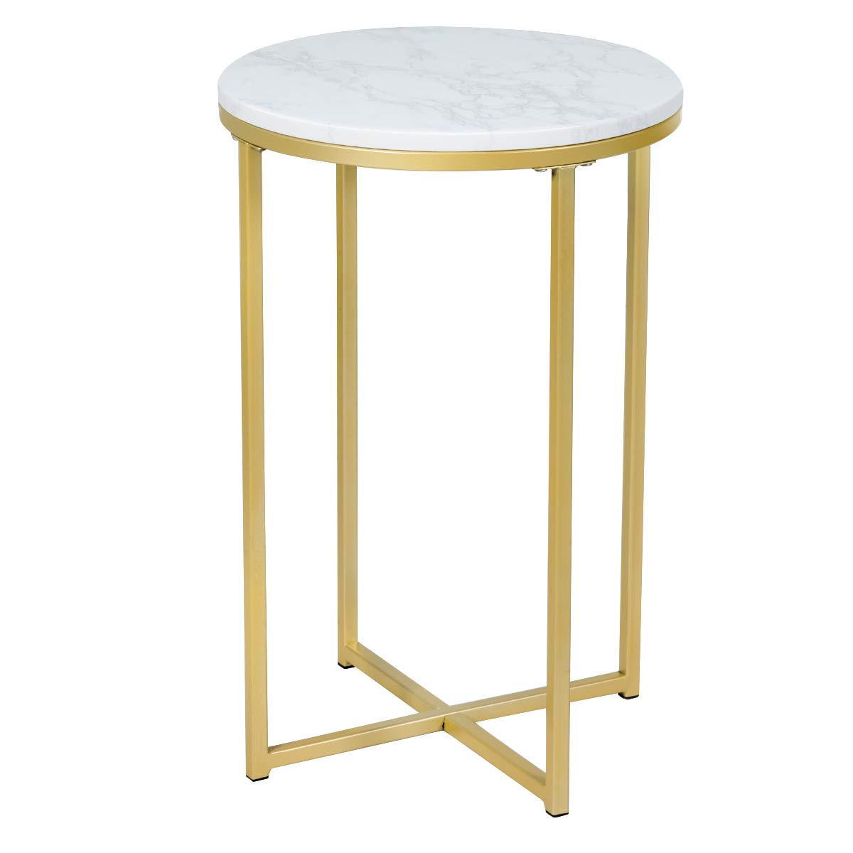 Giantex End Table X Shaped Small Round Side Table W Faux White Marble Top Sturdy Golden Metal Frame Chic Appearance For Living Room Bedroom Study Room Nightstand 1 Kitchen Dining