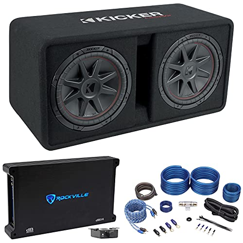 """KICKER 48DCVR122 CompVR 1600w Dual 12"""" Subwoofers with Vented Sub Box Bundle with Rockville dB14 Mono Amplifier Car Audio Amp & Rockville RWK41 4 Gauge Car Amp Wiring Installation Wire Kit (3 Items)"""