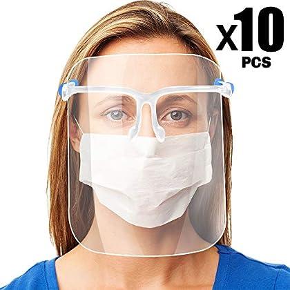 Pantalla de Proteccion Facial, LETOUR 10 Pcs de Cara Completa de Plástico Reutilizable Gafas protectoras Visera de…