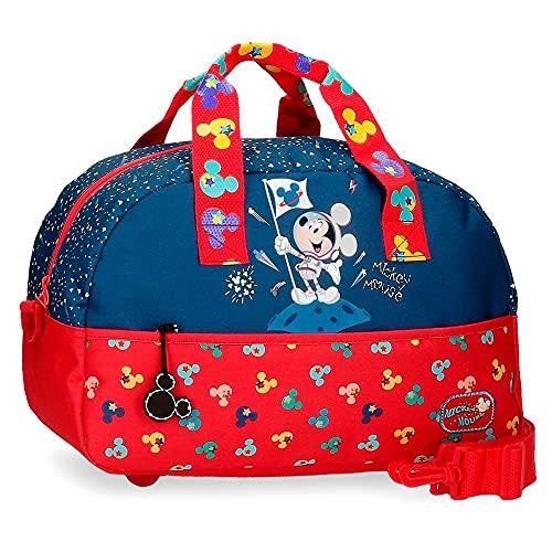 Disney Mickey on The Moon Bolsa de Viaje Azul 24x40x18 cms Poliéster 17,28L