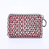 Cast Iron Skillet Cleaner Premium 316 Stainless Steel Chainmail Cleaning Scrubber with Silicone...