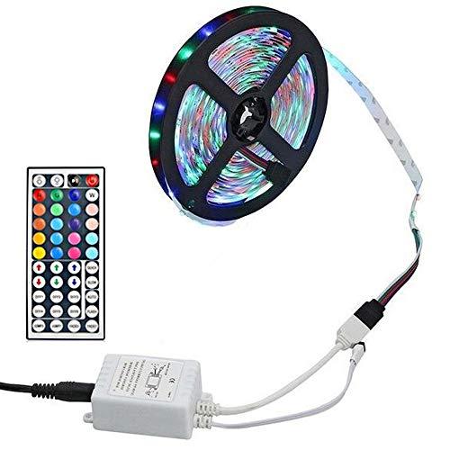 harupink Tira de luces LED RGB de 5 m con mando a distancia de 44 teclas de carga USB para decoración de club/fiesta/familia/vacaciones (B)