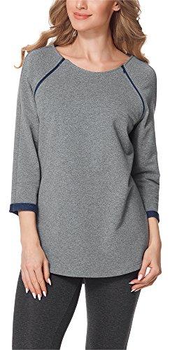 Bellivalini Premamá Blusa Camiseta Lactancia Maternidad Mujer BLV50-121 (Melange/Azul Oscuro, XL)