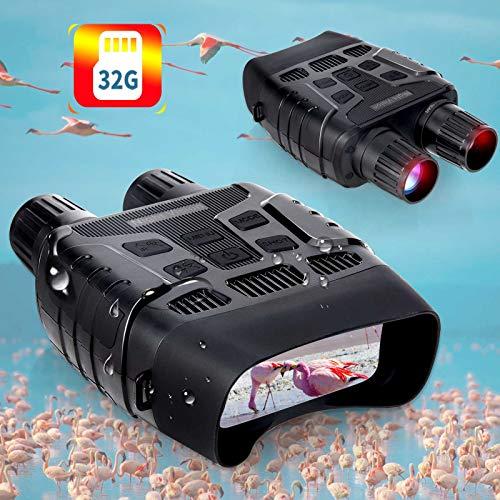 """Binoculares Visión Nocturna Hollee Prismáticos de Infrarrojos Distancia de 300m en Completa Oscuridad HD Digital Binoculares Pantalla 2,31"""" LCD con Tarjeta de 32G para Caza Vida Salvaje"""